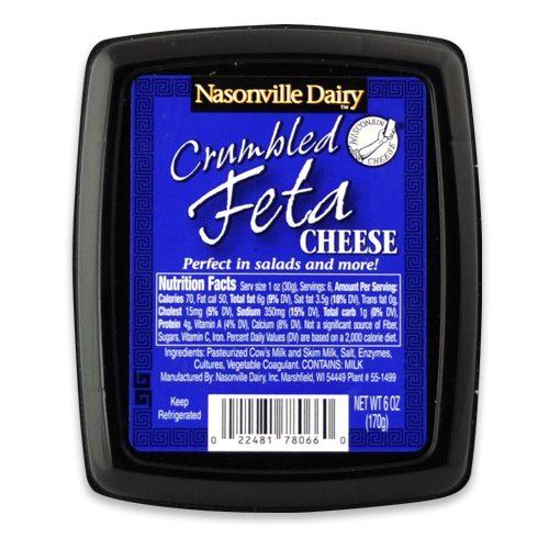 Nasonville Dairy plain feta cheese crumble 6oz.