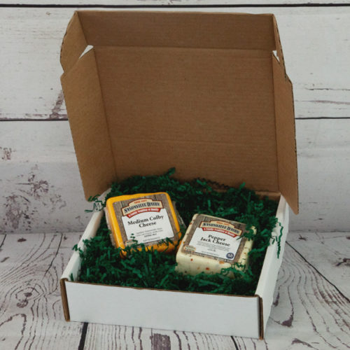 gift box with two cheeses