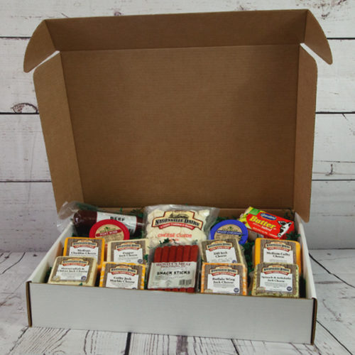 Gift box of cheeses, sausages, and more.