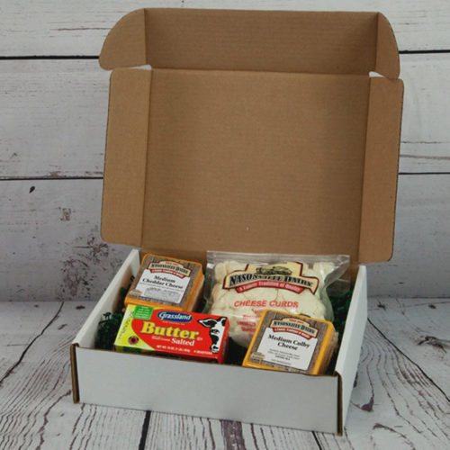 Gift box including cheeses and butter