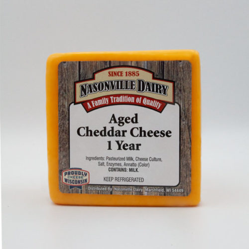 Nasonville Dairy cheddar cheese aged 1 year 16oz block.
