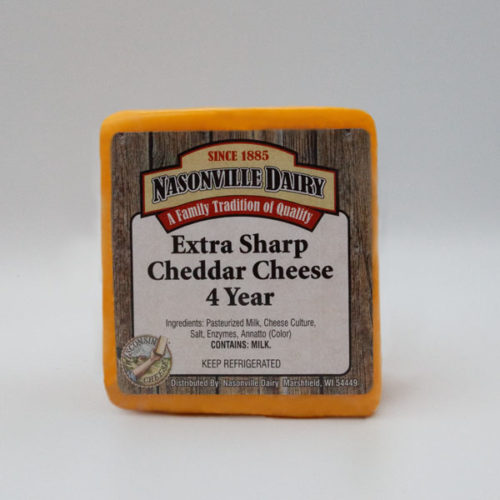 Nasonville Dairy extra sharp cheddar cheese aged 4 years 16oz block.