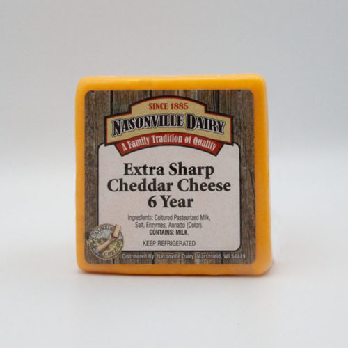 Nasonville Dairy extra sharp cheddar cheese aged 6 years 16oz block.