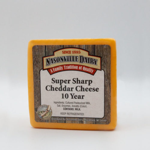 Nasonville Dairy super sharp cheddar cheese aged 10 years 16oz block.