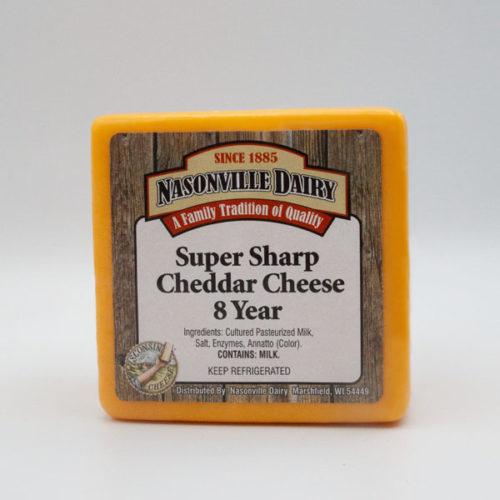 Nasonville Dairy super sharp cheddar cheese aged 8 years 16oz block.
