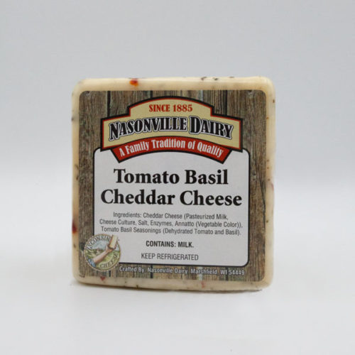 Nasonville Dairy tomato basil cheddar cheese 16oz block.