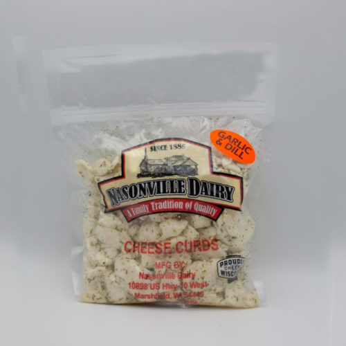 Nasonville Dairy garlic & dill flavored cheese curd 16oz pack.