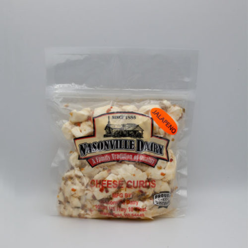 Nasonville Dairy jalapeno pepper flavored cheese curd 16oz pack.