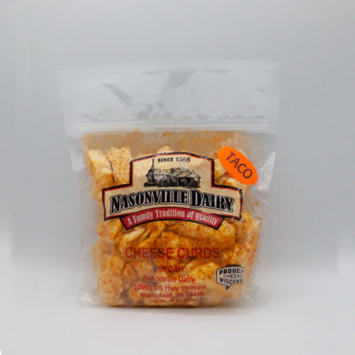 Nasonville Dairy taco flavored cheese curd 16oz pack.