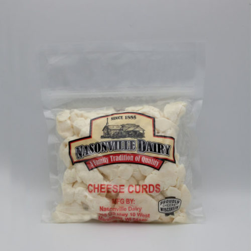 Nasonville Dairy white cheese curd 16oz pack.