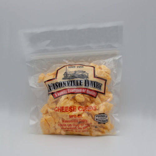 Nasonville Dairy colored cheese curd 16oz pack.