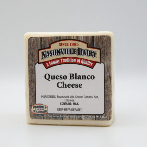 Nasonville Dairy queso blanco cheese 16oz block.