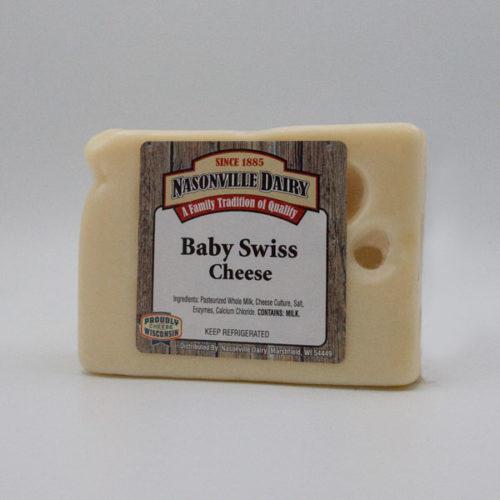 Nasonville Dairy baby swiss cheese 16oz block.
