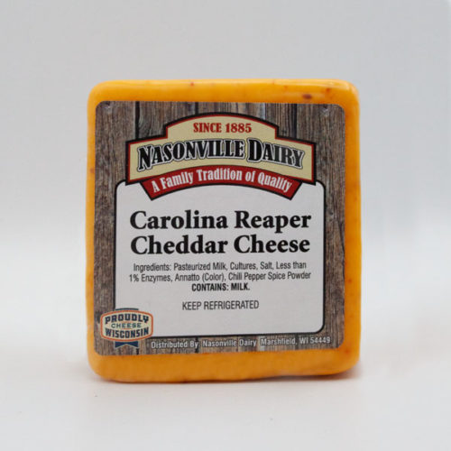 Nasonville Dairy carolina reaper cheddar cheese 16oz block.