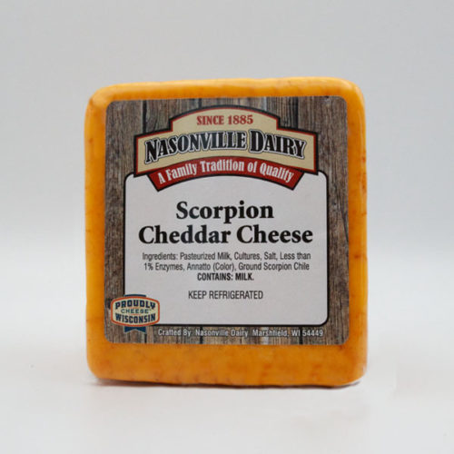 Nasonville Dairy scorpion cheddar cheese 16oz block.