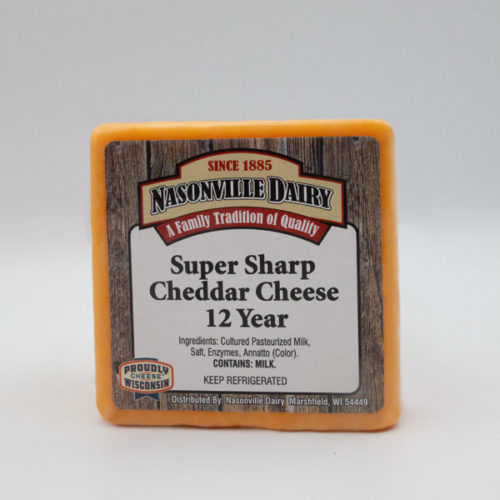 Nasonville Dairy super sharp cheddar cheese aged 12 years 16oz block.