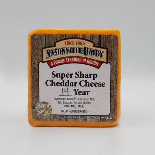 Nasonville Dairy super sharp cheddar cheese aged 14 years 16oz block.