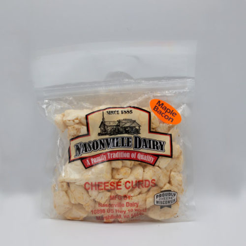 Nasonville Dairy maple bacon flavored cheese curd 16oz pack.
